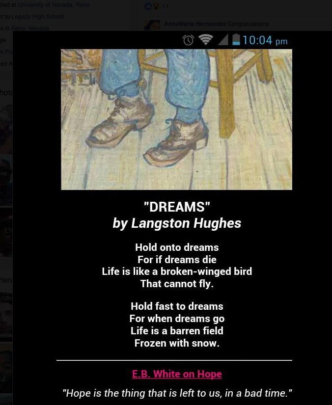 The banner photo from EJ's Facebook page is an inspirational poem by Langston Hughes.