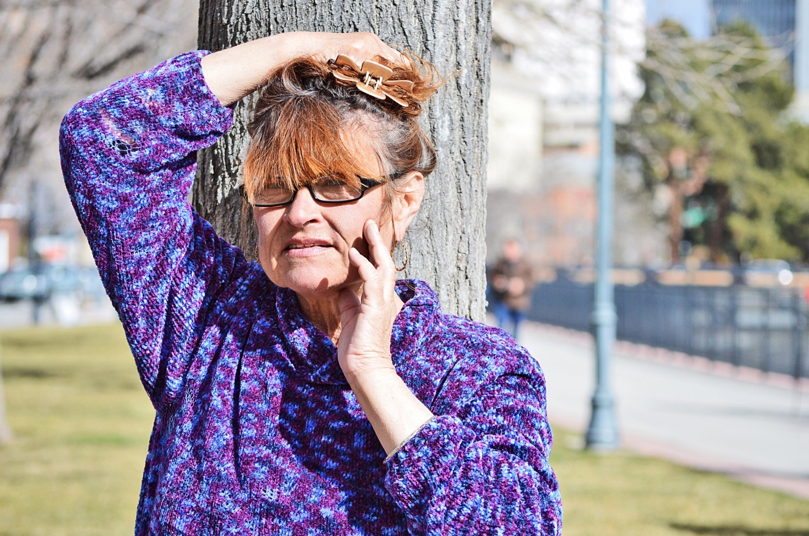 Despite windy conditions, Dora wanted a new Facebook profile photo taken of her.Photo by Janay Hagans.