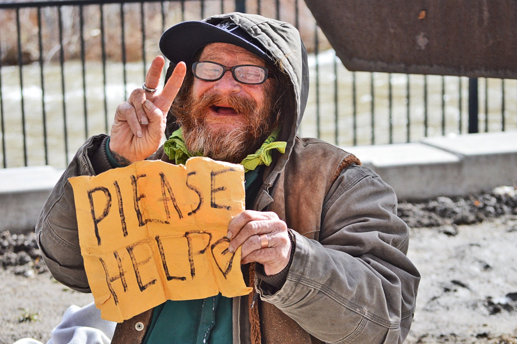 Hobo had an even wider smile as the Truckee River flowed behind him. Photo by Janay Hagans.