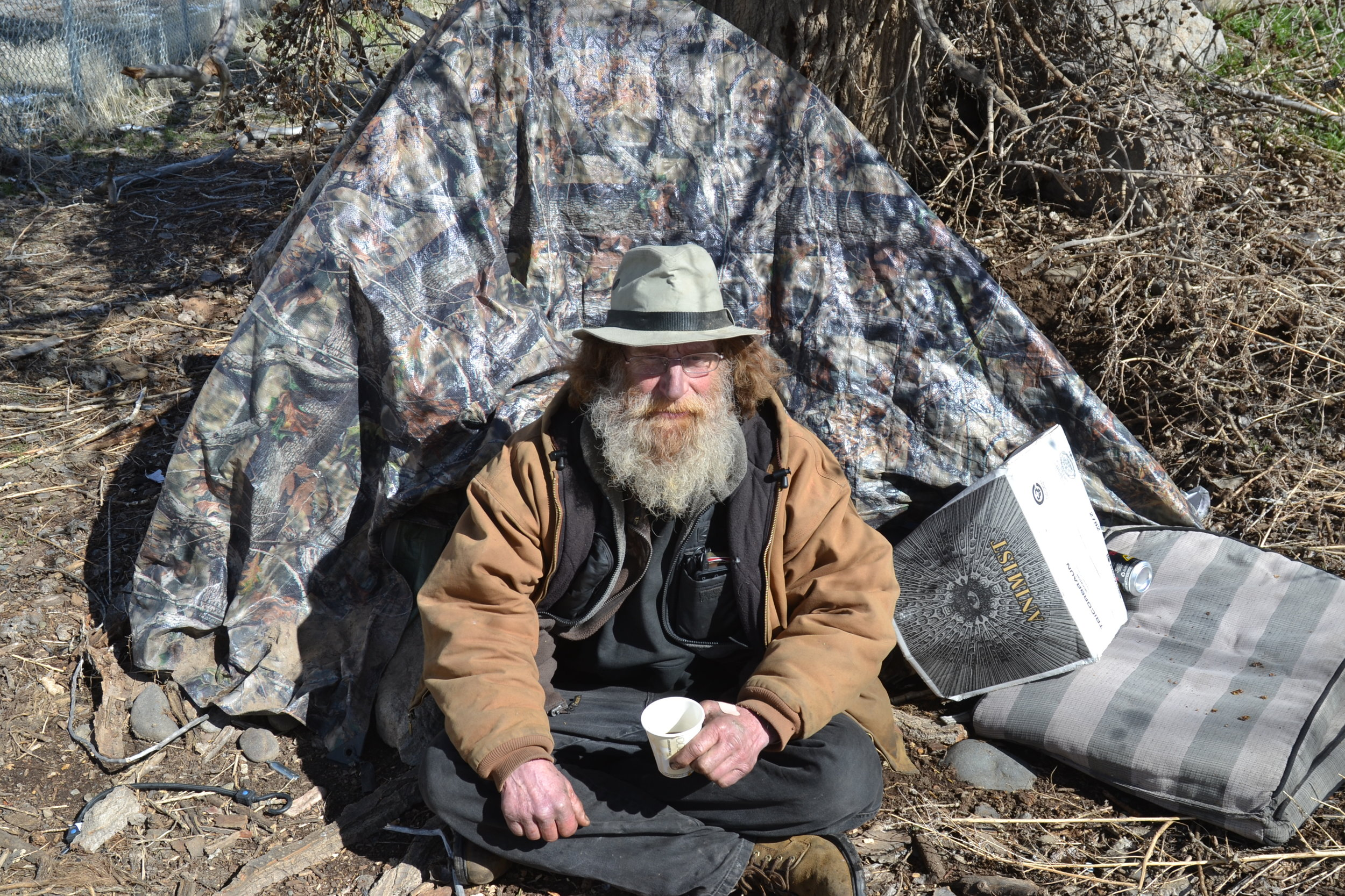 Kenny, who says he's from New Mexico, braved this harsh winter by the Truckee river in his tent. Photo by Jacob Jacoby for Our Town Reno