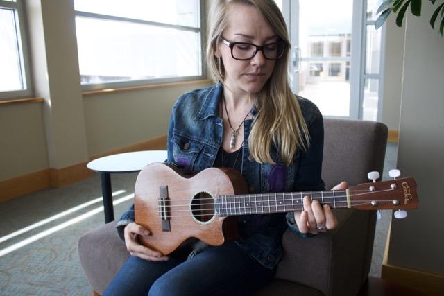 Straw's own ukulele is what's called a tenor ukulele. Photo by Alexandra Mosher