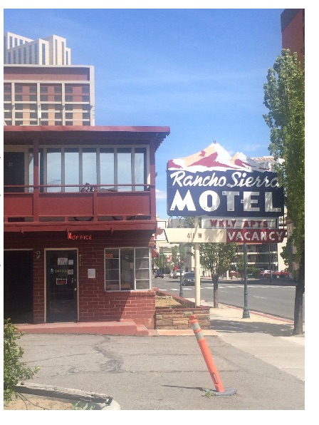 """""""A weekly for one bed was about a hundred and thirty dollars,"""" said Chuck, who was staying at the Rancho Sierra Motel.""""They also rent monthly and have regular tenants."""" The owner of the Rancho Sierra Motel declined to comment for this story. Photo by Jacob Jacoby for Our Town Reno"""