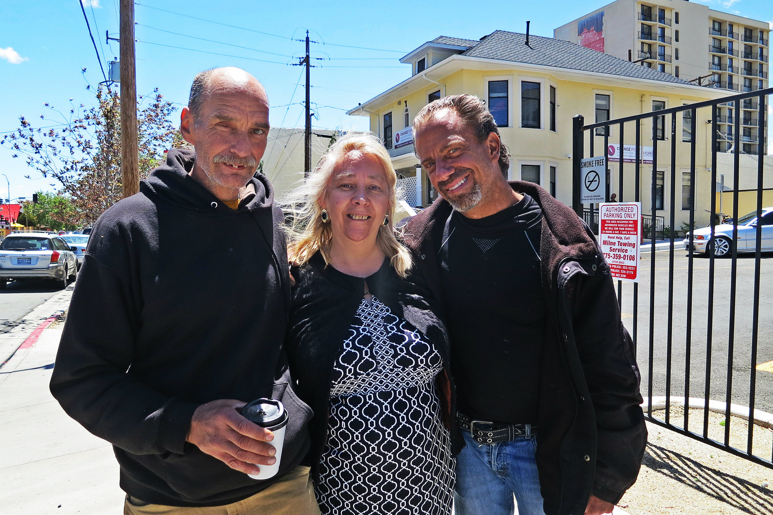 """""""You give people hope, You tell them 'it's ok, today is a bad day, but tomorrow will be a better day'. Here you don't judge people,"""" Diaz (center) with two clients of Change Point she has helped.""""You get people as they are and you just support them, and give them love and compassion and they give you love back. I get a lot of love every time I go there."""""""