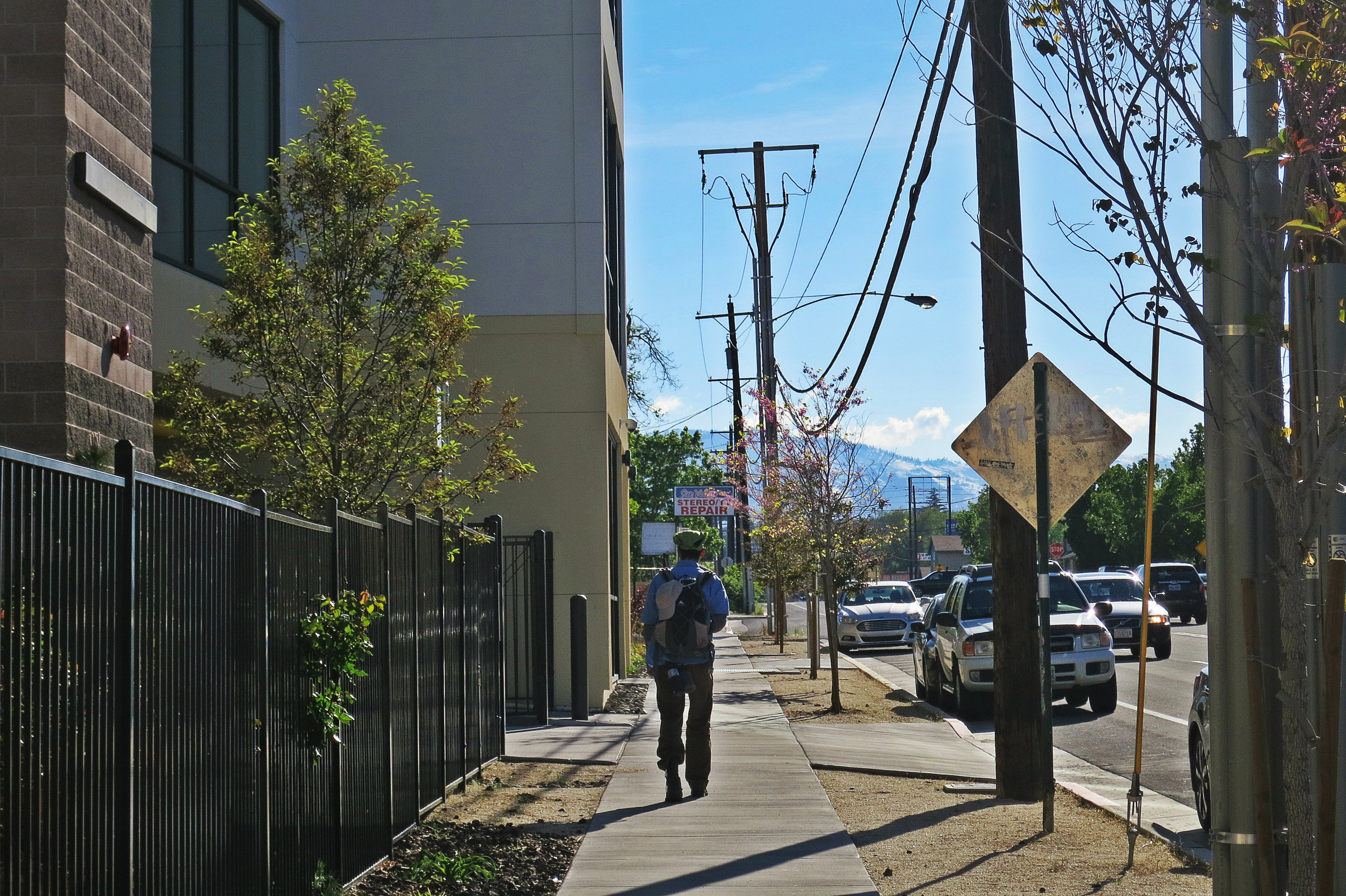 """Outside Hopes which sees steady traffic of pedestrians. """"We also have rising rents,"""" Diaz says of current conditions in Reno. """"So that also displaces people so they become homeless, or live with others in the same small apartment. That also draws people to be tempted and exposed to drug addiction and prostitution."""""""
