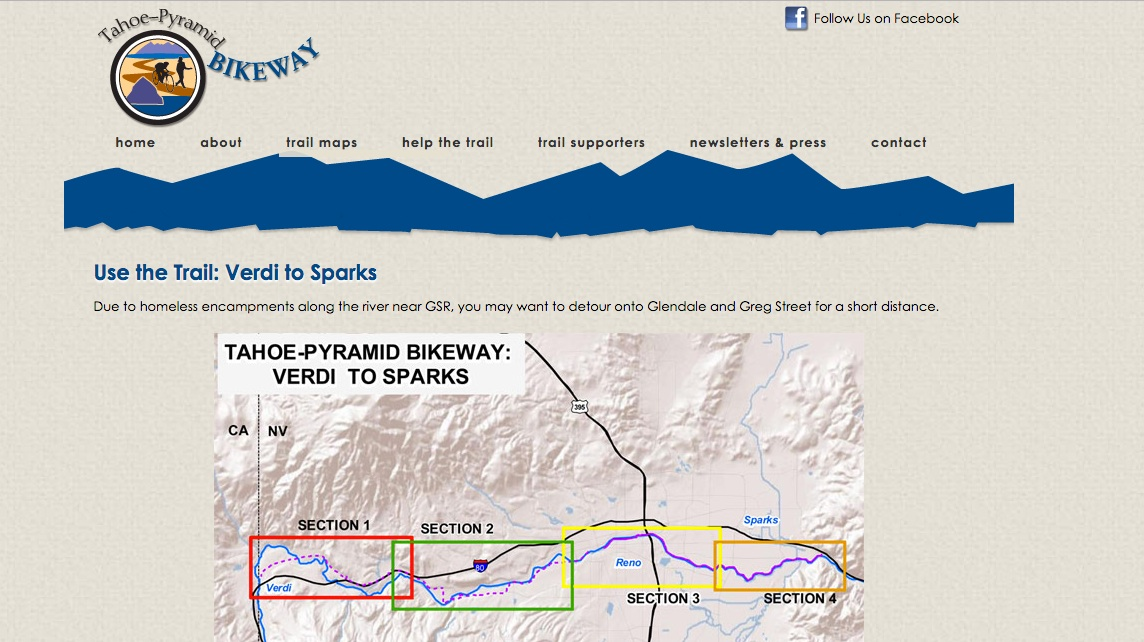 The website of the Tahoe-Pyramid Bikeway suggests avoiding homeless encampments. Fuzz fears the bike path will make it more and more difficult to find a camping spot.