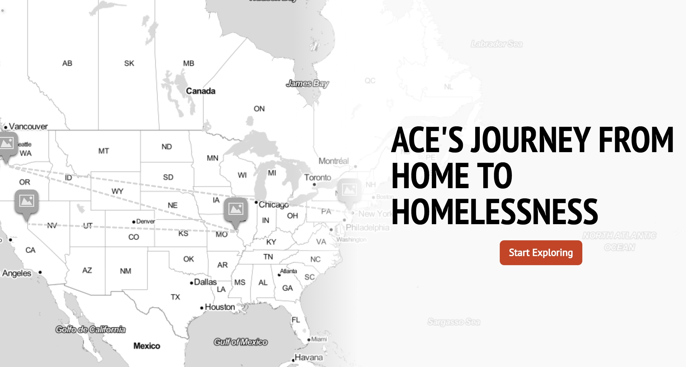 Click on this link here for an interactive map of some of Ace's harrowing and painful journey.