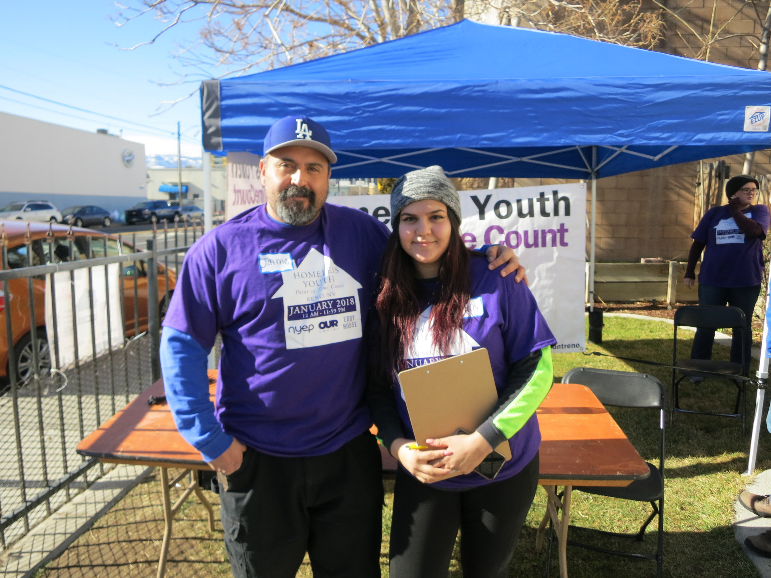 """It's unfortunate it can't be like this all the time,""  Araceli Zamorana (right), pictured with her father said as some of Reno's youths on the streets got to sleep in a safe place last night as part of the annual homeless youth point in time count.  Homeless youths say they feel unsafe at regular shelters, and the Eddy House is trying to raise money to have its own shelter space geared just for young adults."