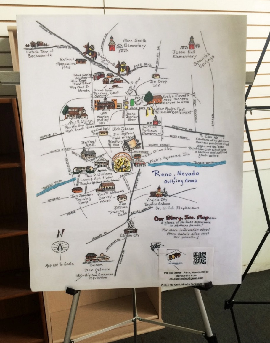 A map created by Our Story, Inc., outlines some of the black experience in Northern Nevada history.