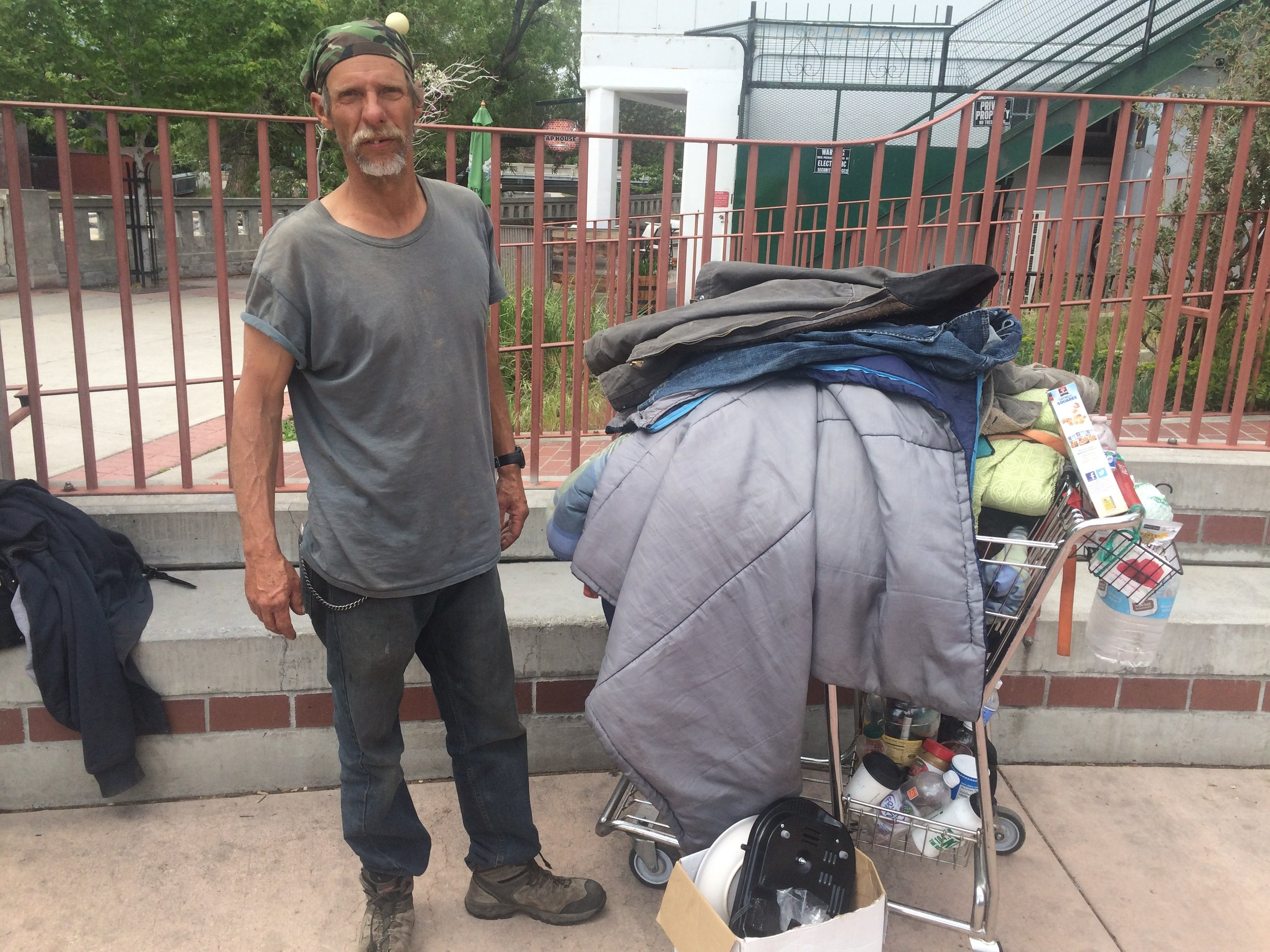 """""""Surviving is the hardest thing,"""" Tyrone Dortland says.""""How do I get my wife to have a shower, make sure we have good food?Im out here every day trying to find work so I can take care of my wife."""" Photo and Reporting by Prince Nesta for Our Town Reno"""