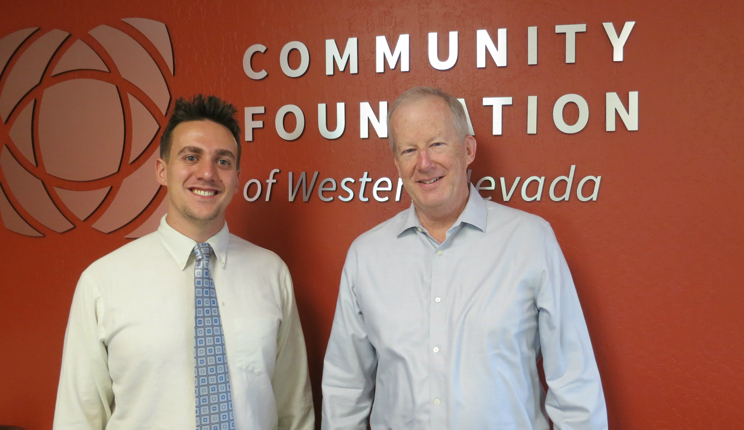 """As a final City Council vote neared to approve their Community Housing Land Trust dormitory facility, Nick Tscheekar (left), the Director of Community Leadership said : """"At the Community Foundation, we connect people who care with causes that matter and housing is a cause that matters.""""Jim Pfrommer (right), a tax and accounting consultant and the Foundation's current board chair said: """"I think with many things, even in business as well, you have to adapt and you have to figure out what works and what doesn't. And so this is another one of those things we hope that works to help provide part of the solution."""""""