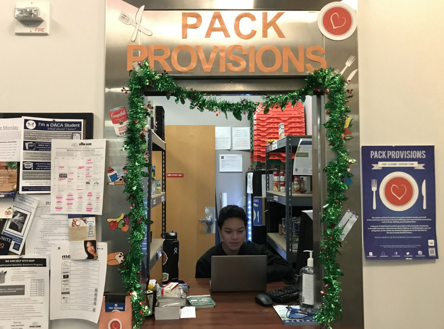 Pack Provisions tries to be as welcoming as possible to students in need. Pictured here is Thomas Libang. Photo by Lucia Starbuck.