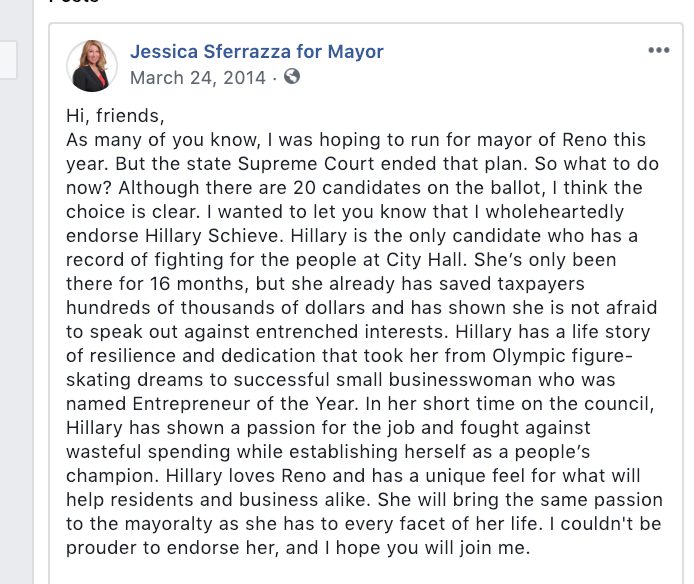 An important moment in Reno's city politics happened when Hillary Schieve emerged as the frontrunner in the 2014 mayor's race following a court decision.