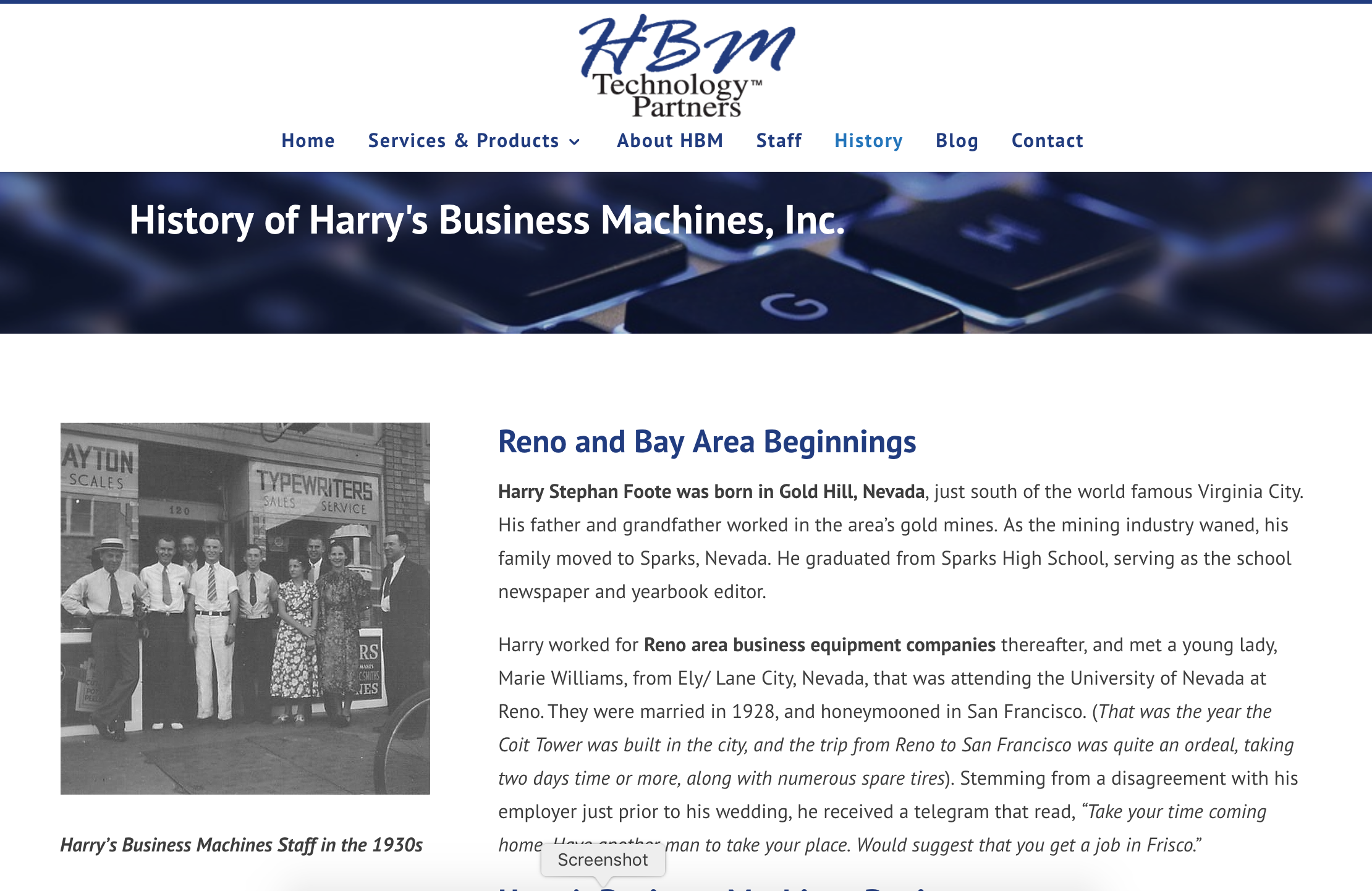 A screengrab from HBM's website tracing back the company's family inception.