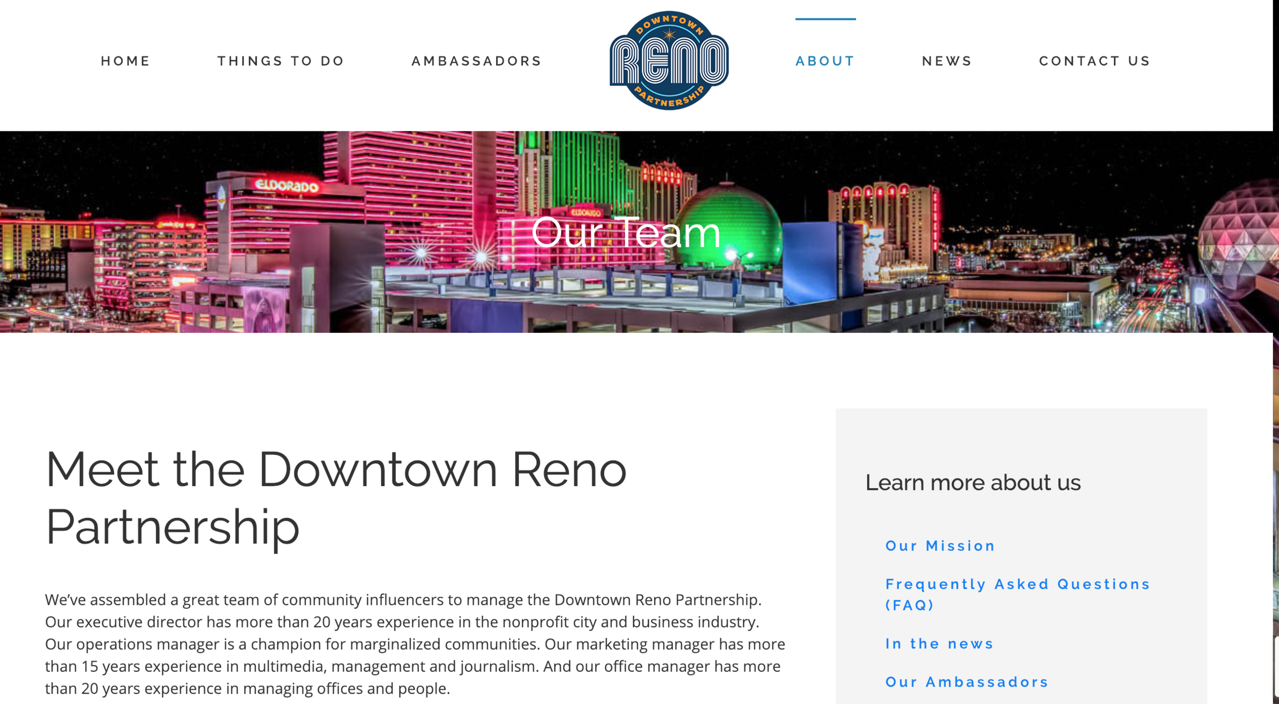 A screengrab above of the Downtown Reno Partnership website.
