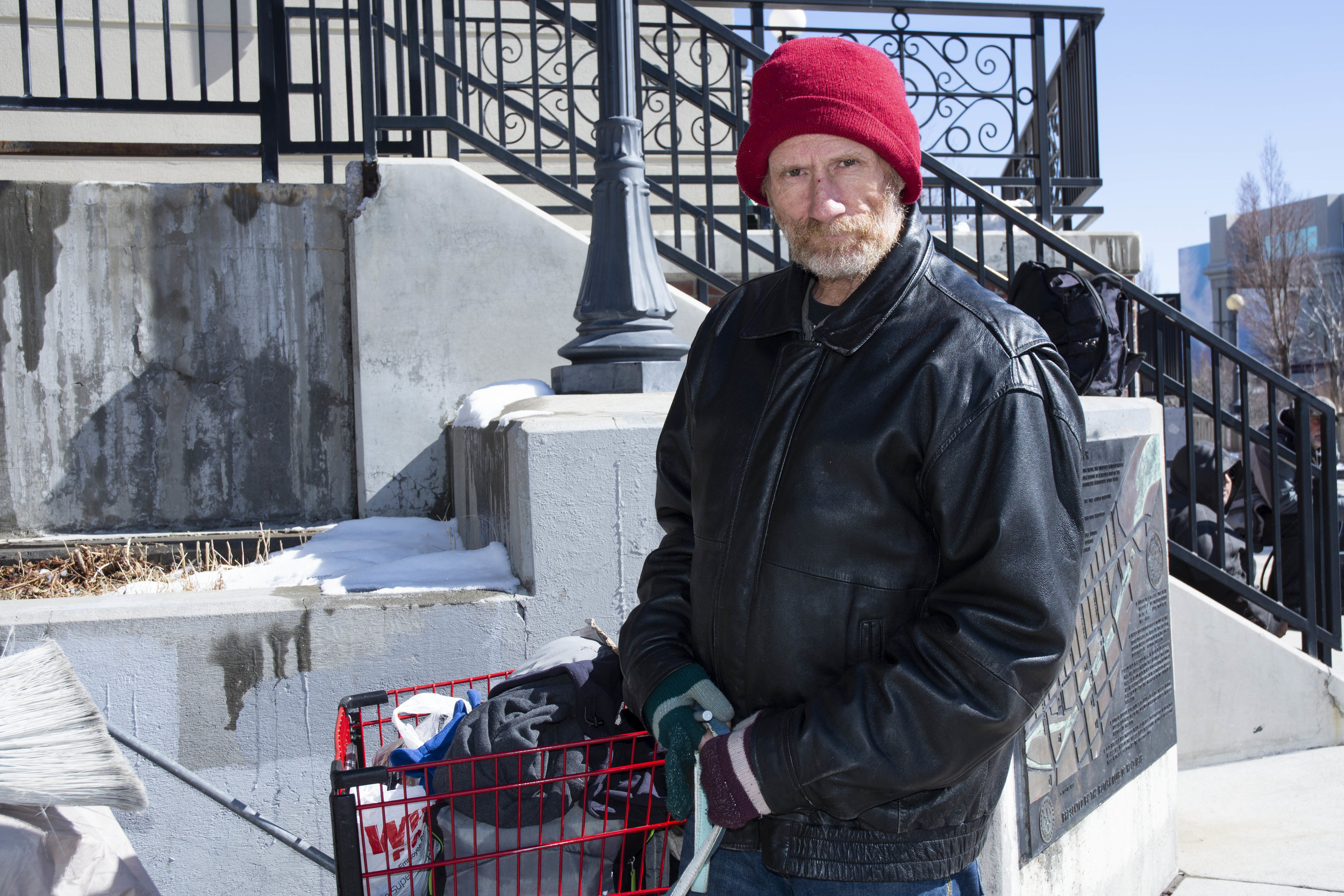 """I'm from California. I've been here for about 10 days . My truck blew up this side of Truckee and we don't have the money to go home and we're trying to get the Greyhound, so I've been panhandling and we're $32 shy still and we just can't get it,"" Dewey said of trying to get his wife and two small dogs back to California."