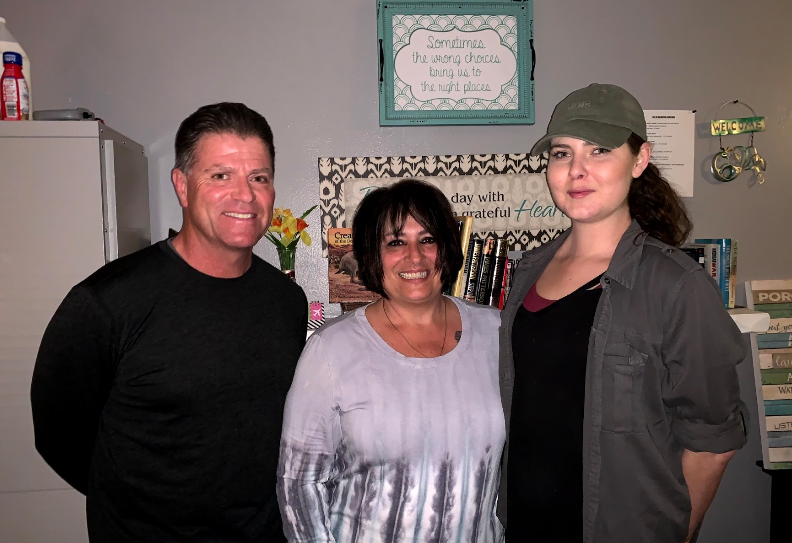 Stacey Payne (center) with two staff members Curt Torvick, Director of Operations, and Hannah Torvick, Housing First Model Program, started Lyfe Recovery Services in 2017, with different locations, as a model for affordable sober living homes in northern Nevada, to help those in recovery get housed and back on track.