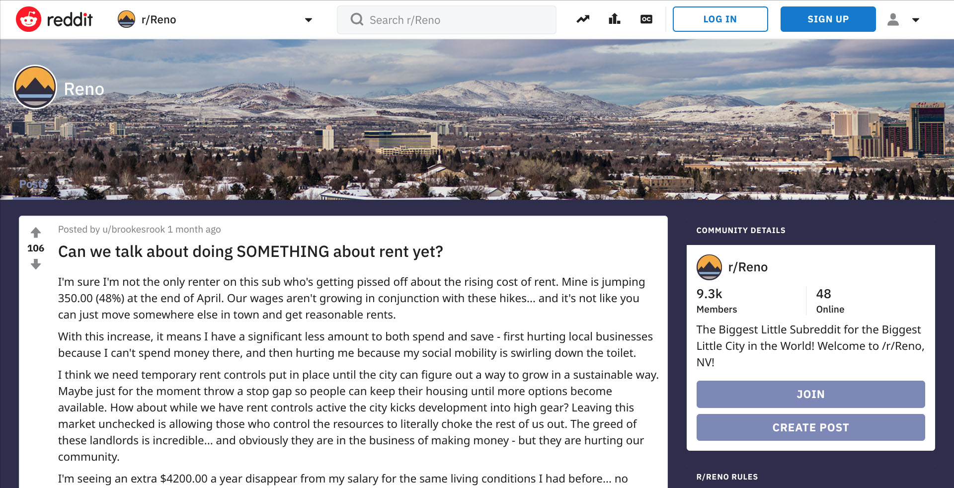 Noble has had debates with realtors, landlords and other renters in Reno on the subreddit r/Reno on Reddit. She said she likes to discuss and understand opposing arguments.
