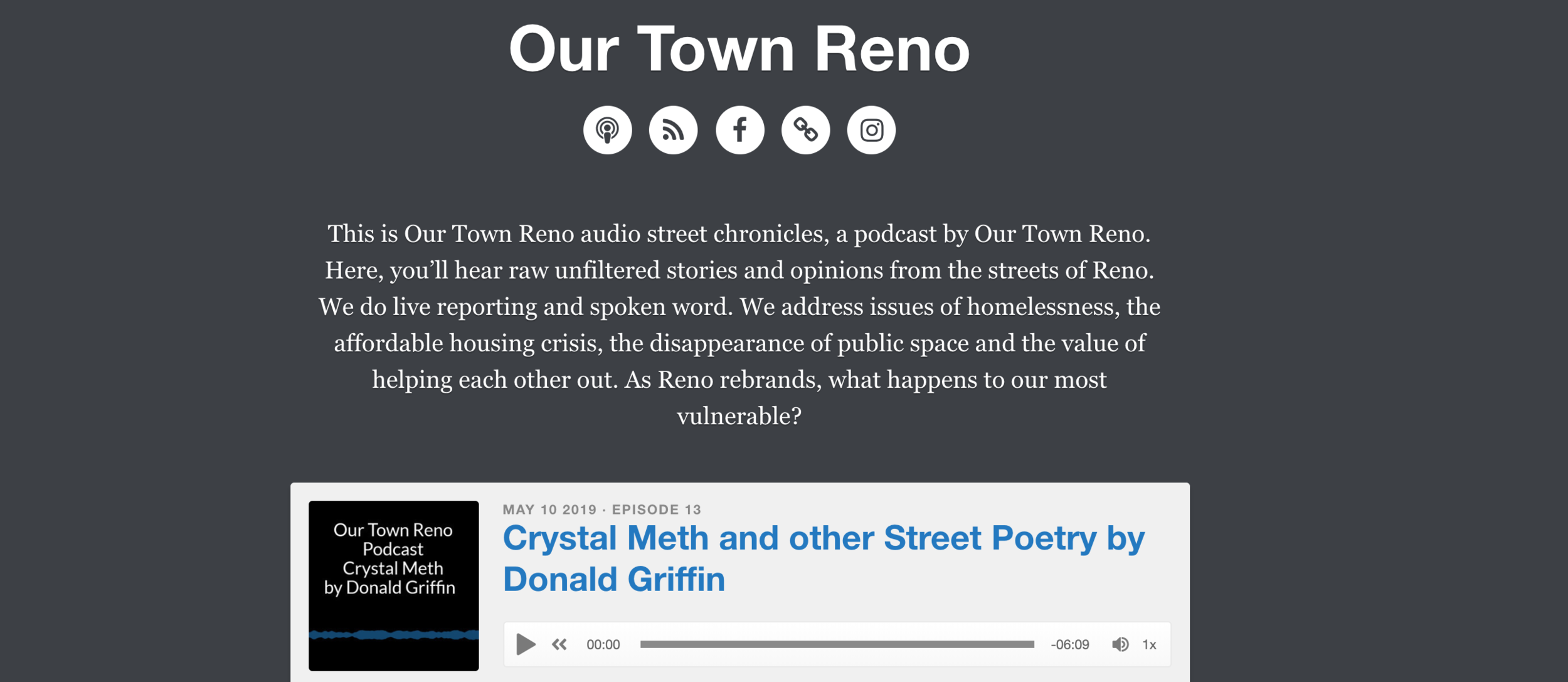 Poetry written and read by Donald Griffin is on the Our Town Reno podcast here:  https://ourtownreno.simplecast.fm/a7e4a84f