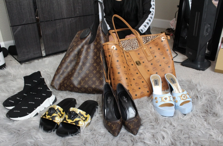 Designer bags and shoes bought with her tip money.