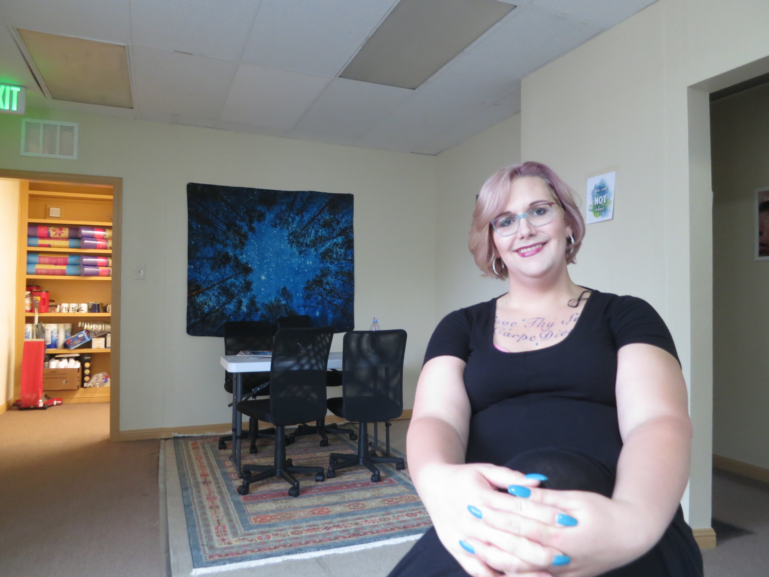 "Phoenix Cutler, who used to be homeless and addicted to crystal meth, leads a trans support meeting in this room at the new Foundation for Recovery in Sparks. ""Basically there's no inclusive group in Reno that talks about sex, drugs, you know … how to have sex on hormones, how not to have sex on hormones, body positivity and just living your true life,"" she said during an interview with Our Town Reno."