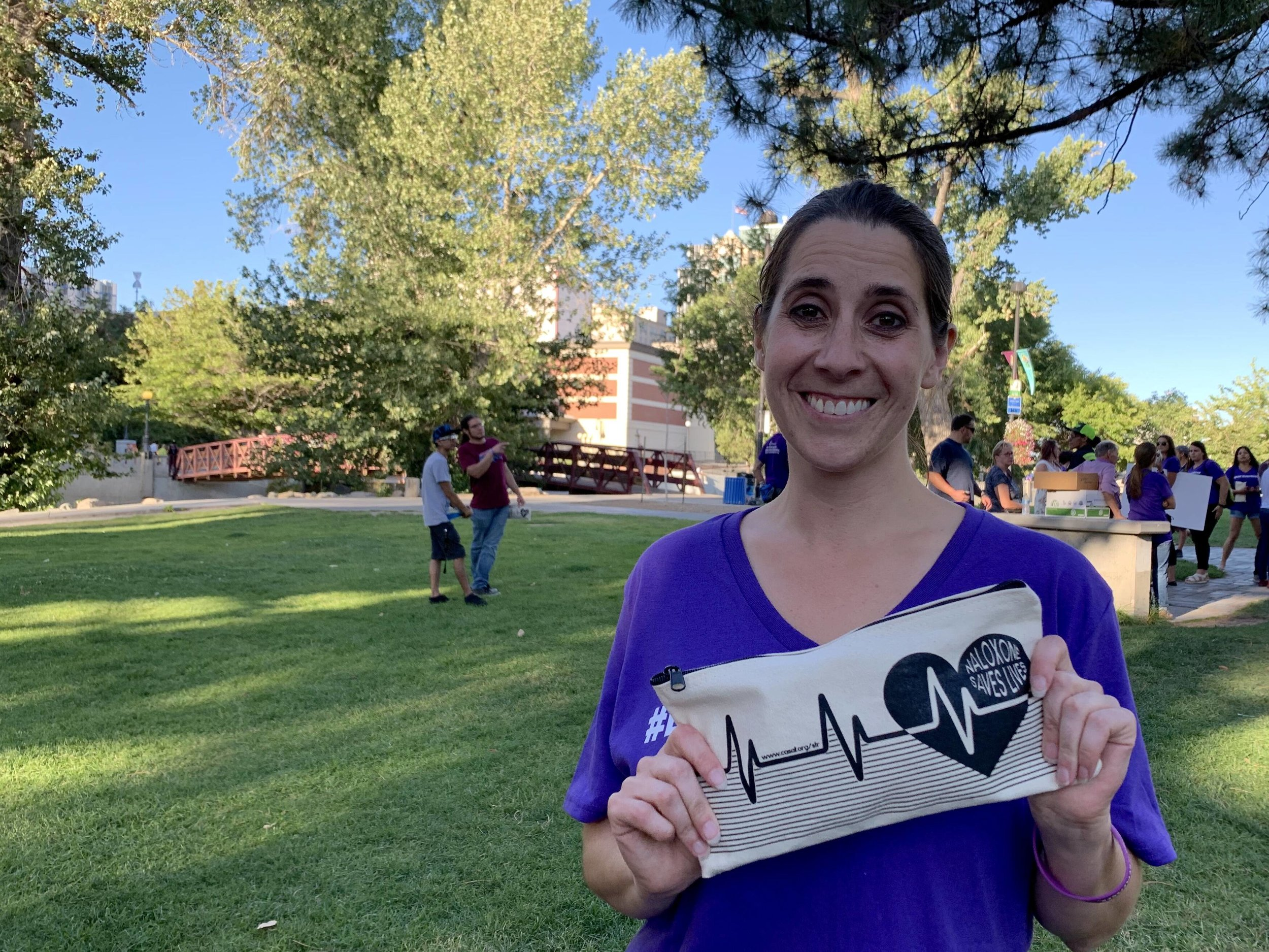 "Morgan Green from the Center for the Application of Substance Abuse Technologies at UNR took part in a recent event marking International Overdose Awareness Day. She passed out naloxone kits, which are used to counter effects of an opioid overdose. ""I think we're breaking a lot of barriers in terms of people who are overcoming addiction, but there's still a long way to go,"" she said. ""A lot of times we tend to pretend that they don't exist, they hide in corners. People themselves don't even recognize when they have a problem because we don't talk about it. We want to make sure that the education's out there, that the compassion is there."""