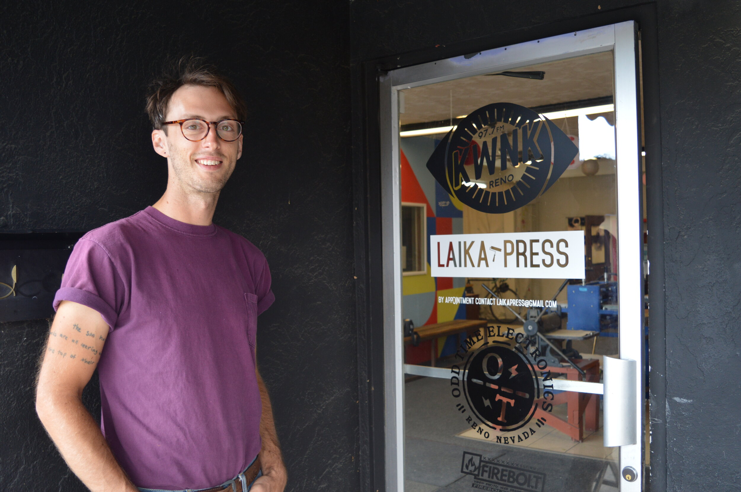 Nathaniel Benjamin, a graduate of UNR, co-founded Laika Press when he felt a need for publicly-accessible printmaking equipment in Reno. The Wells Ave. location which has been operating for several years now provides printmaking services, workshops, different membership options and occasional zine printing parties.
