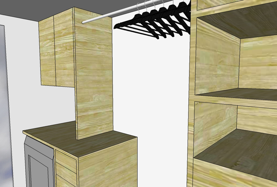 Closet with laundry counter and additional storage.