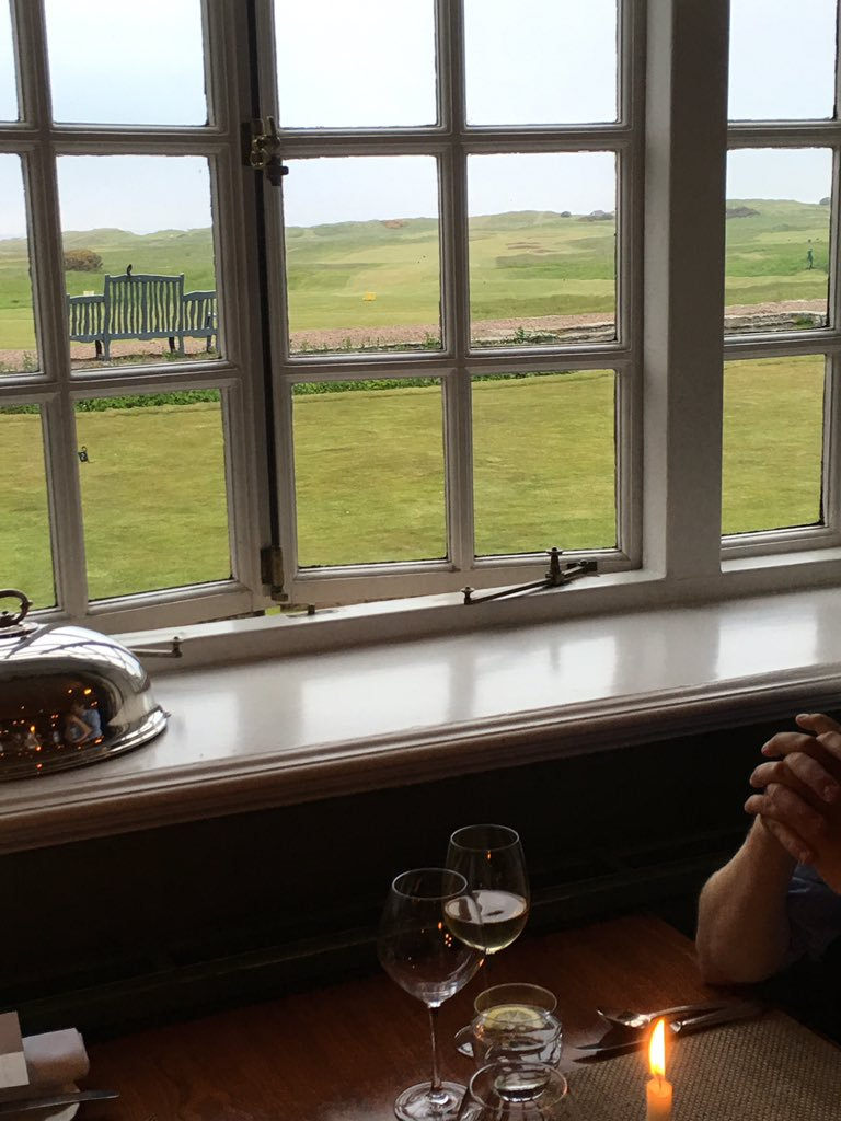 The view over Muirfield from the restaurant at Greywalls