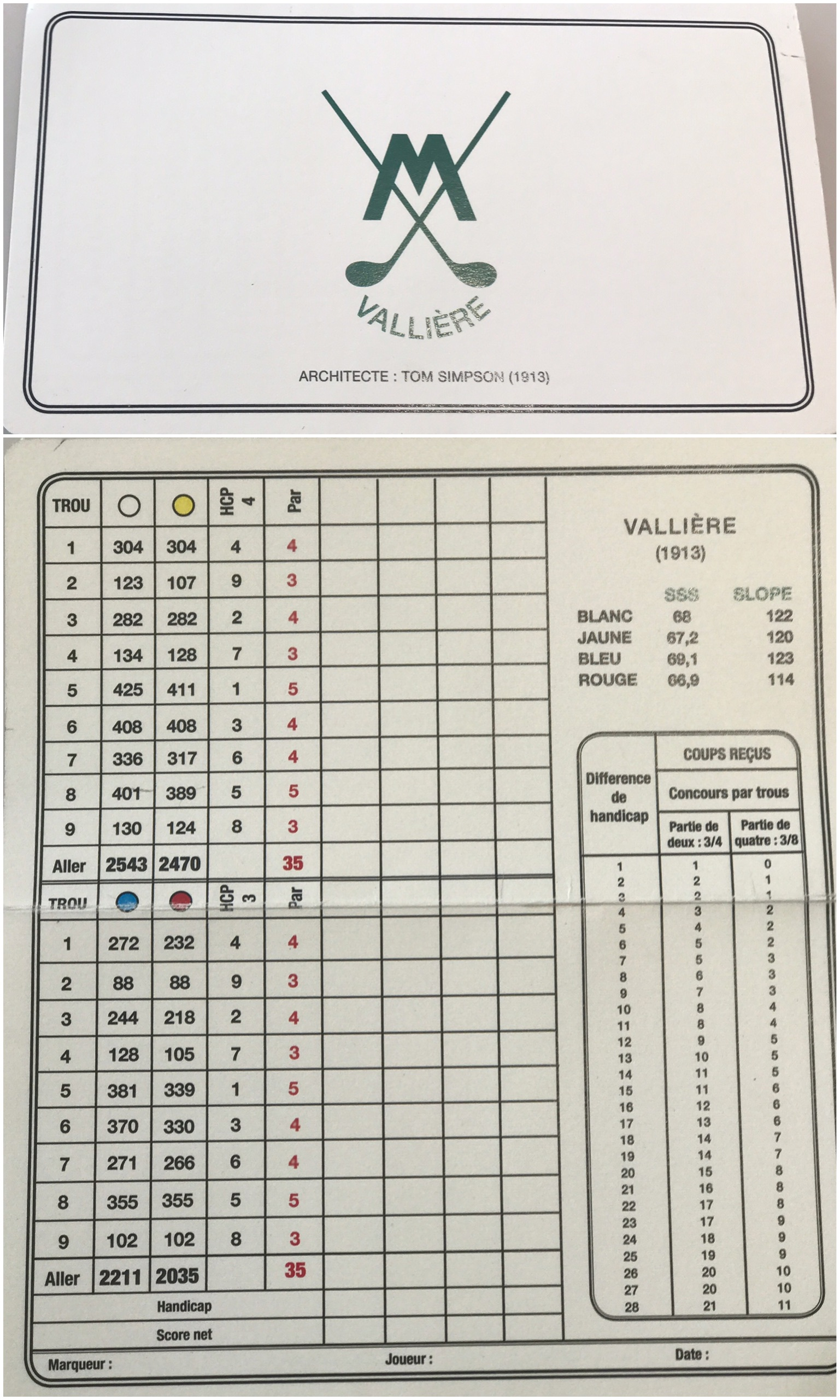 Scorecard for the Valliere course at Morfontaine