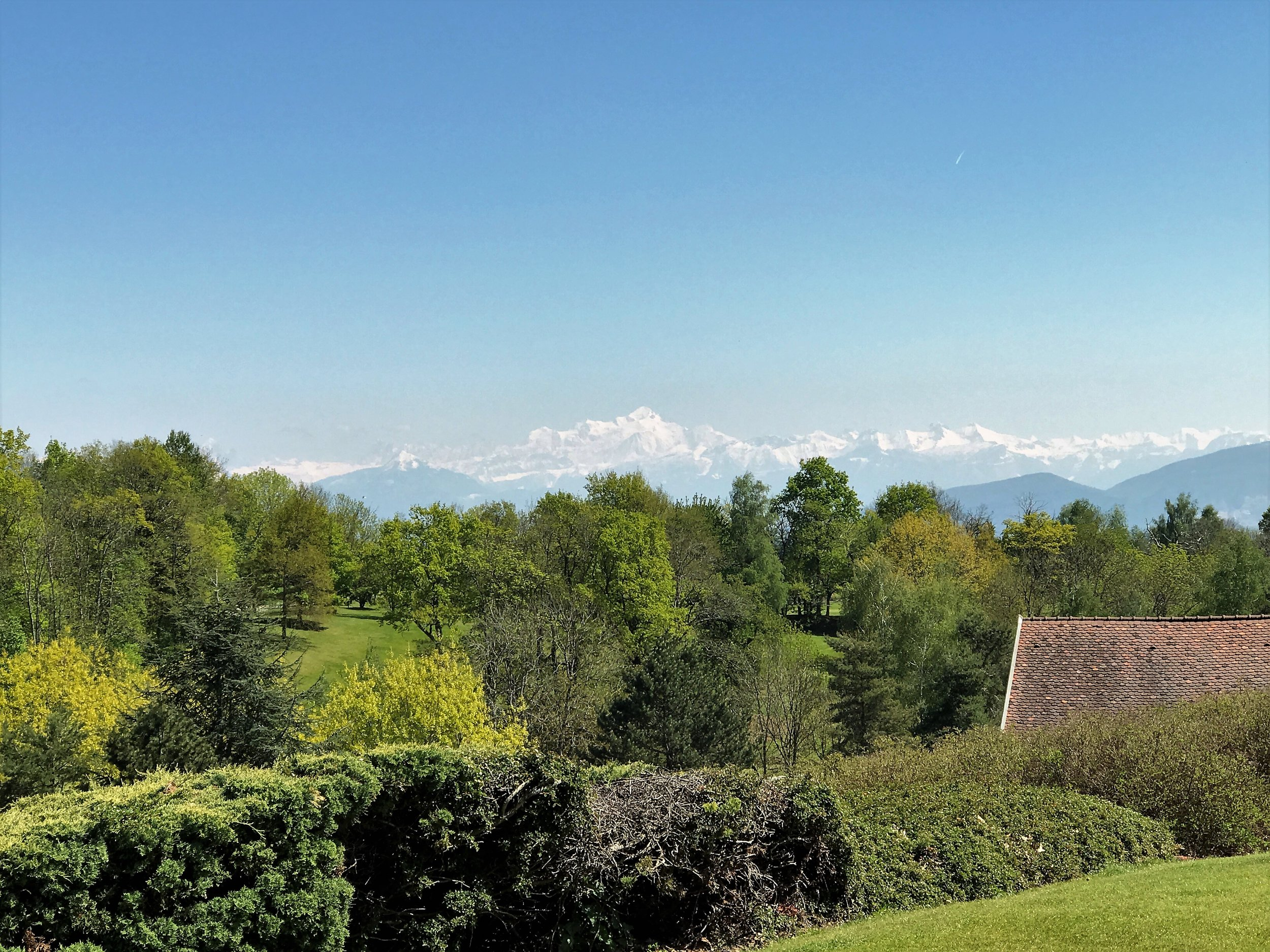 There's a spectacular view from the terrace at Maison Blanche over to the Mont Blanc