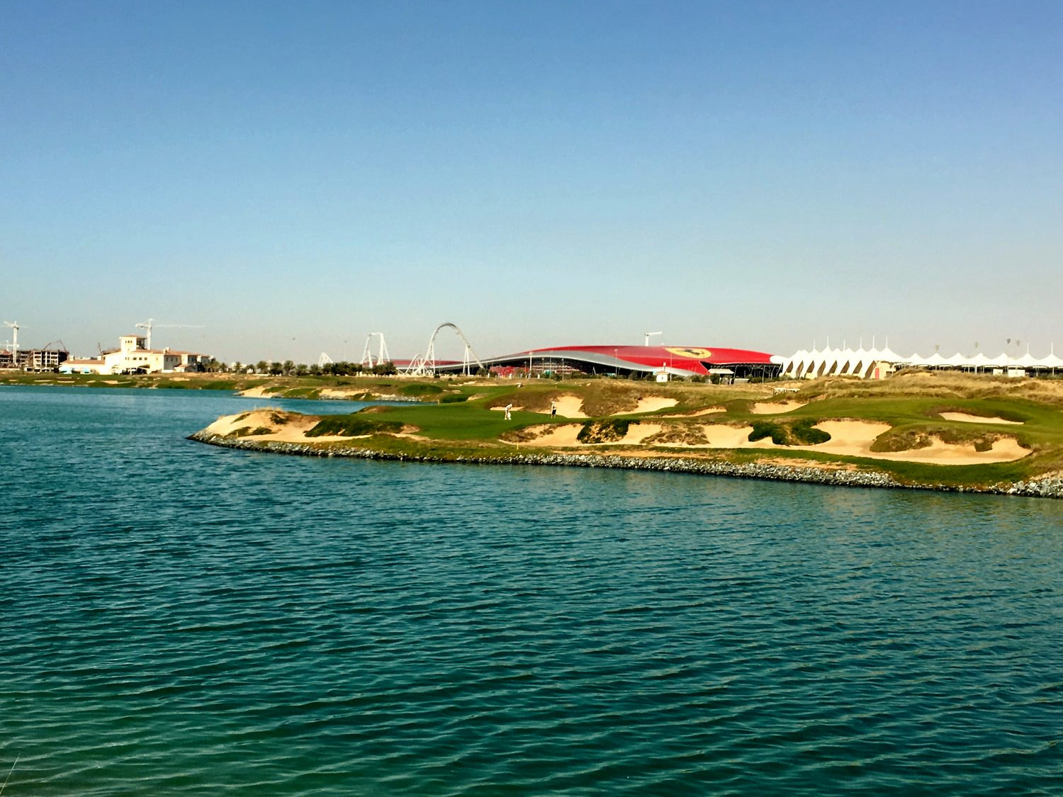 The Yas Links, with Ferrariworld in the background!