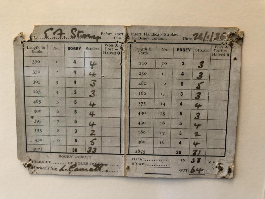 A scorecard from when par was bogey!