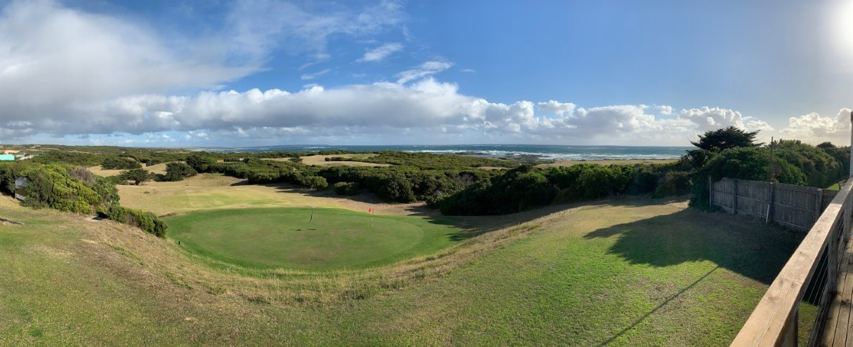 The view from the clubhouse at King Island Golf and Bowling Club