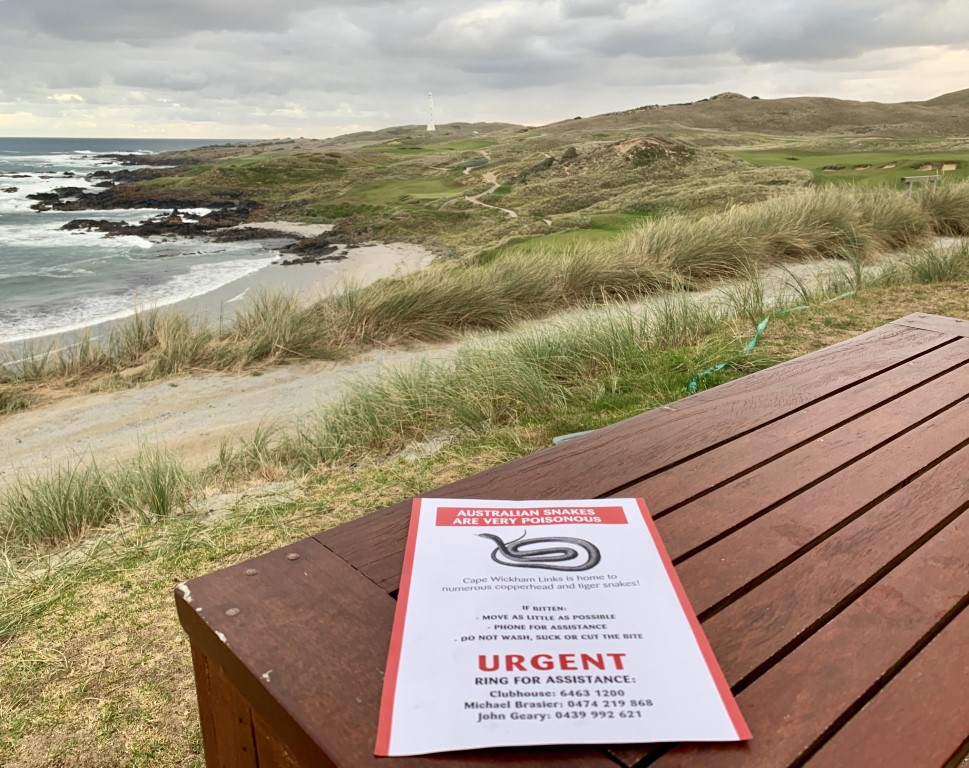 Warnings about snakes from the clubhouse at Cape Wickham!