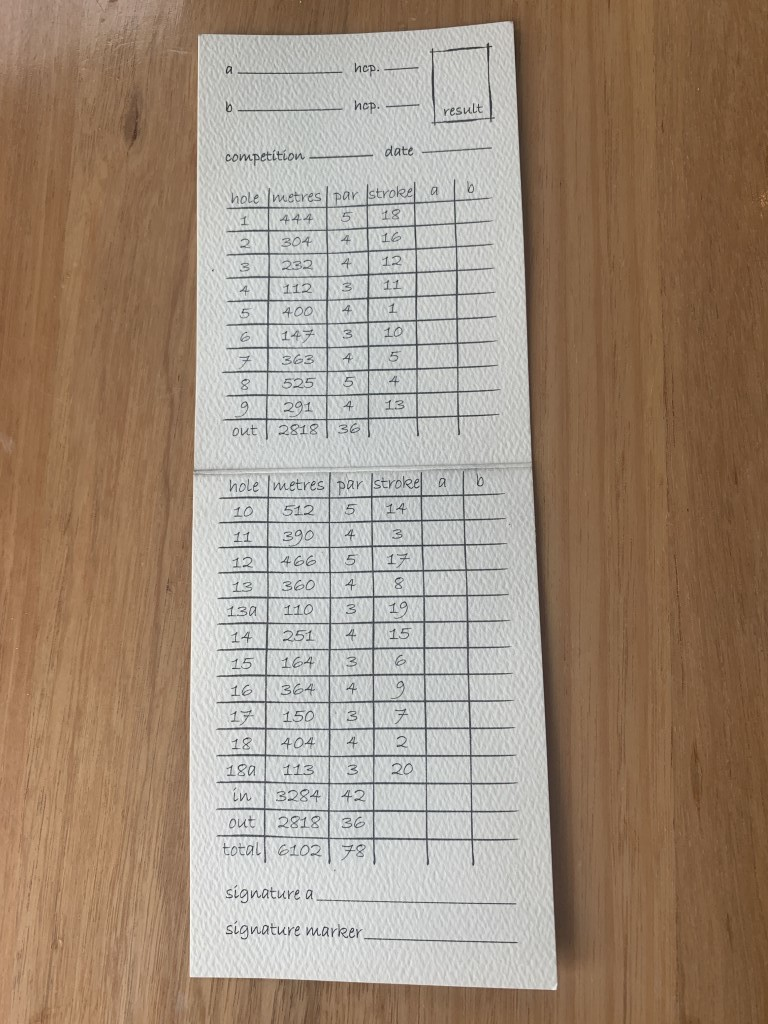 The scorecard at Lost Farm has an unusual 20 holes on!