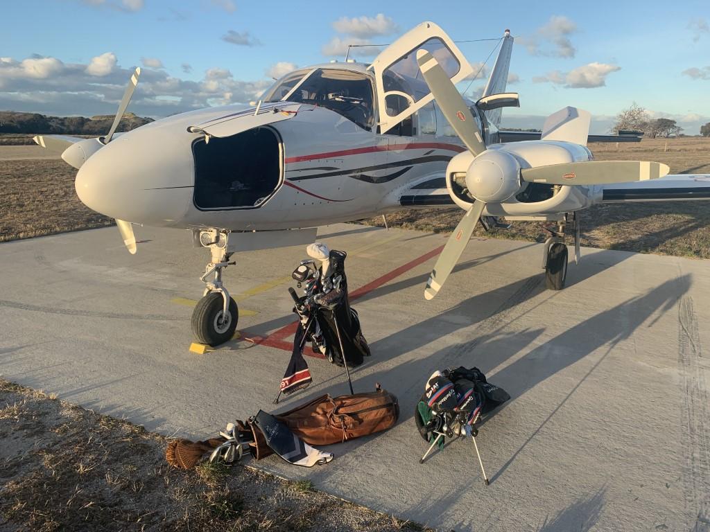 Packing up at the Barnbougle airstrip