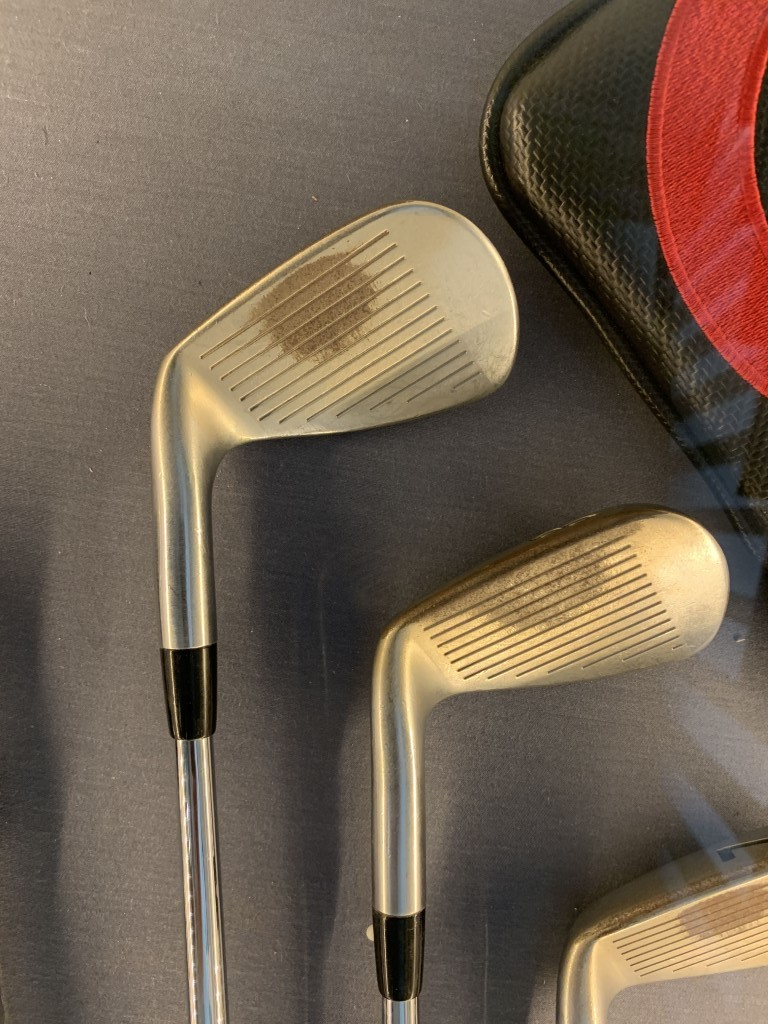 Adam Scott's clubs from his Masters victory are on show