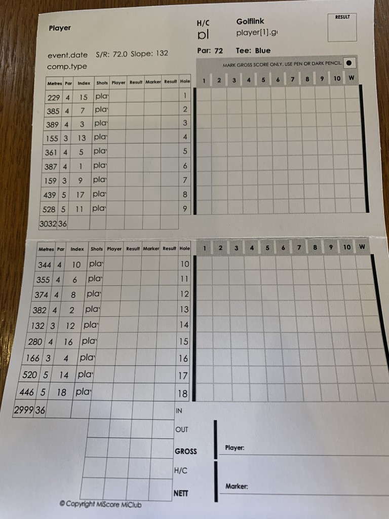 Scorecard from the National Golf Club Moonah Course