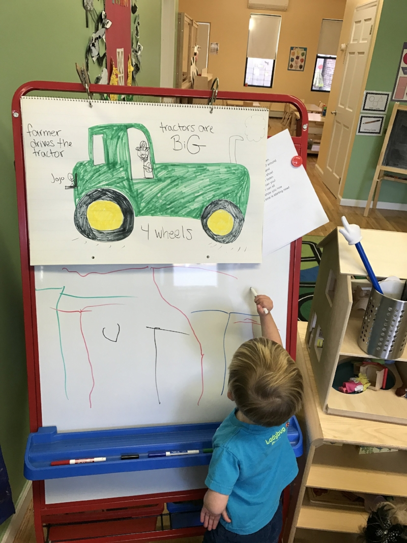 """Everyone had their turn practicing the letter """"T"""" on our easel!"""