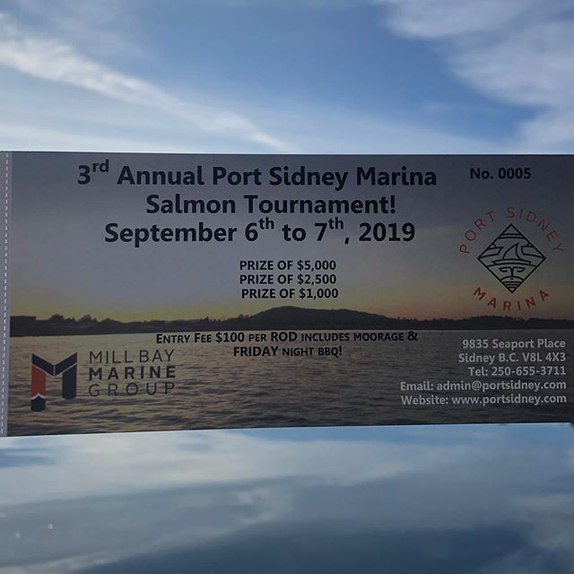 What are you doing next weekend? Join the Port Sidney Fishing Derby!  Tickets available at Mill Bay Marina and Port Sidney Marina  #anglerapproved #bcfishing #sidneybythesea #sidneybc #cowichanvalley #gulfislands