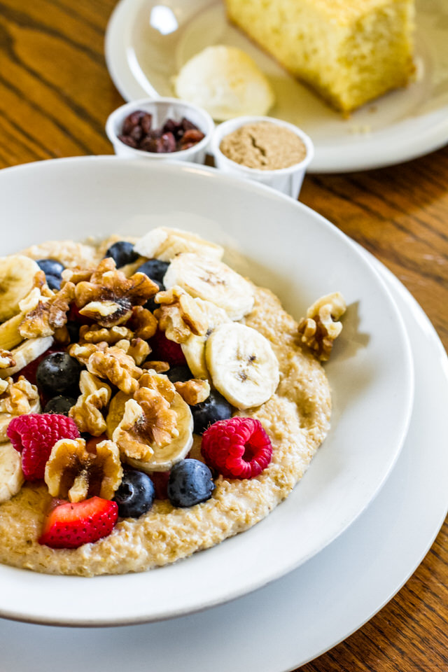 "Oatmeal Special - $9.99 - Bowl of oatmeal with ""The Works"" and a side of toast (upgrades will result in an up-charge)""The Works"" includes bananas, blueberries, raspberries, strawberries and walnuts"