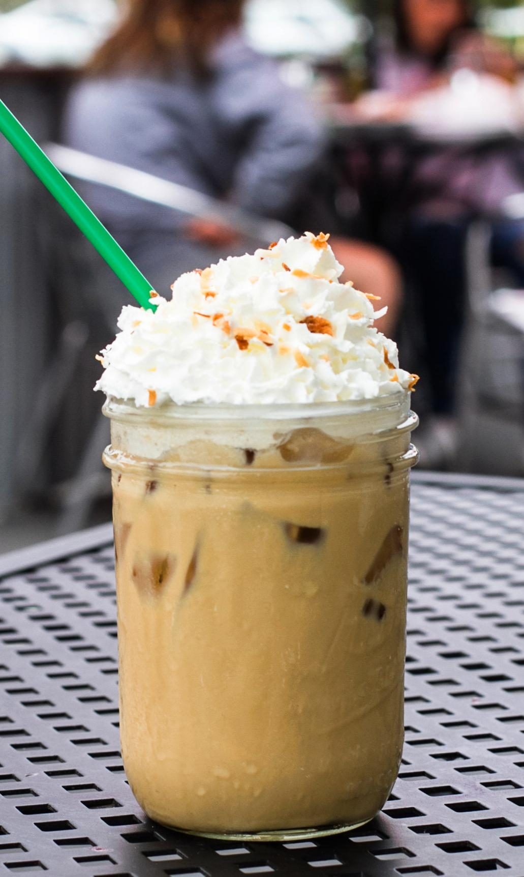 Coconut Iced Latte - $4.50 - Iced latte with our house made coconut flavored syrup topped with whipped cream and toasted coconut flakes. Served on a mason jar.- Coconut syrup- Double shot of espresso- Choice of milk- Whipped Cream- Toasted coconut flakes(DLV and Calle Real locations only)