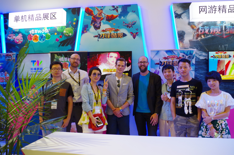 SYBO参观《刀锋酷跑》在ChinaJoy的展台