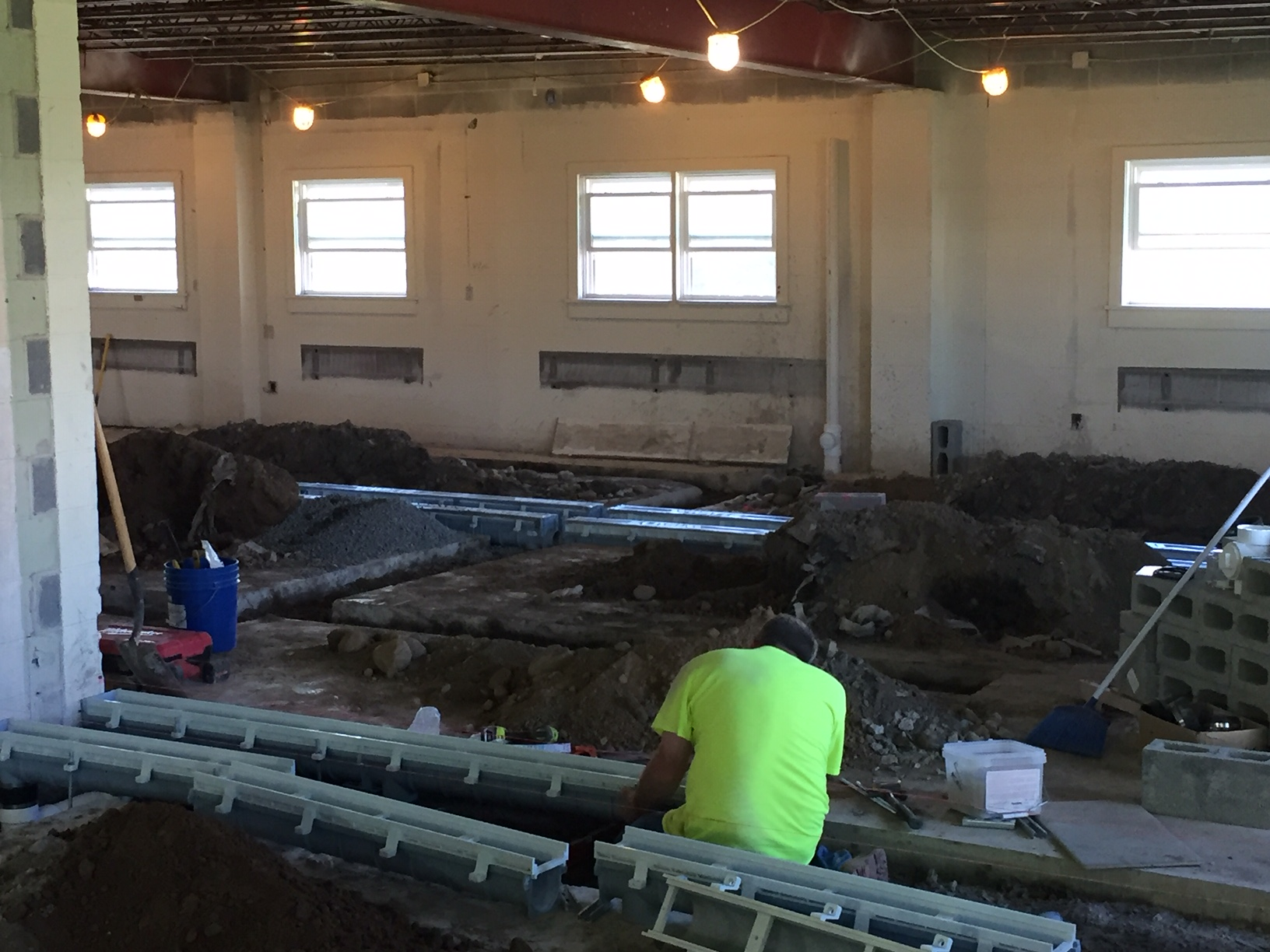 Kennel drains being placed