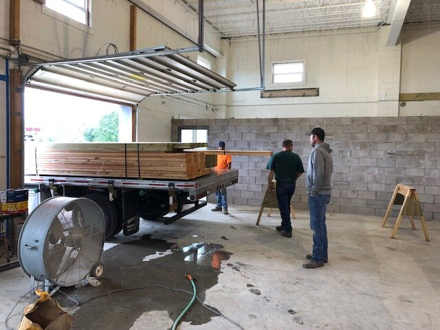 Delivery of lumber in the Training Room
