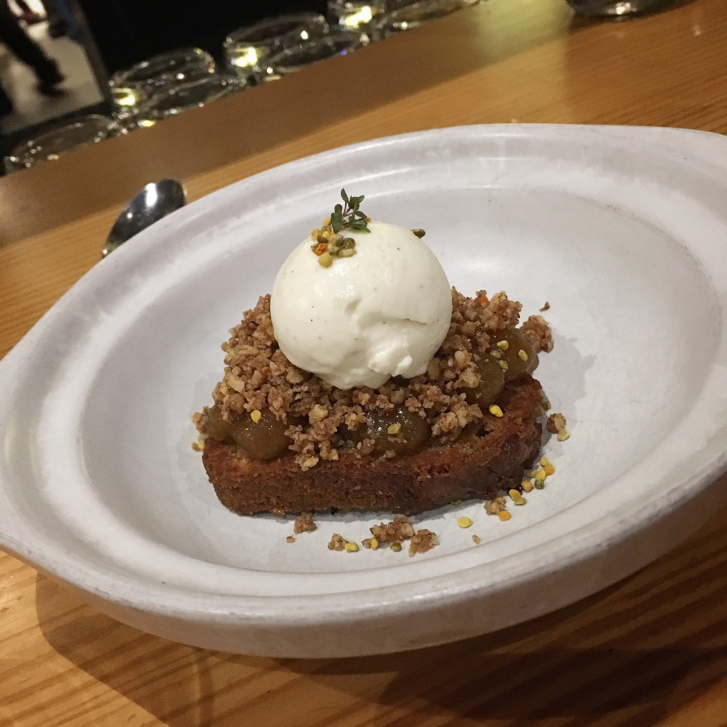 fig butter cake with pecans and vanilla bean ice cream