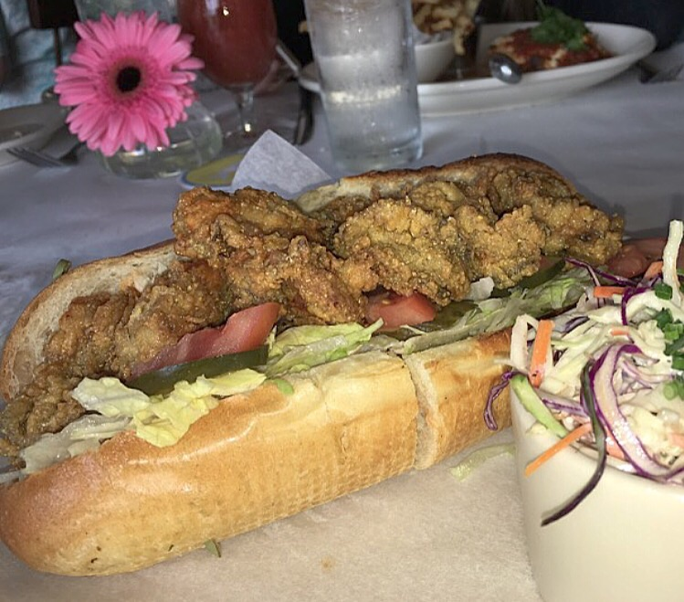 oyster po boy with homemade lemony coleslaw