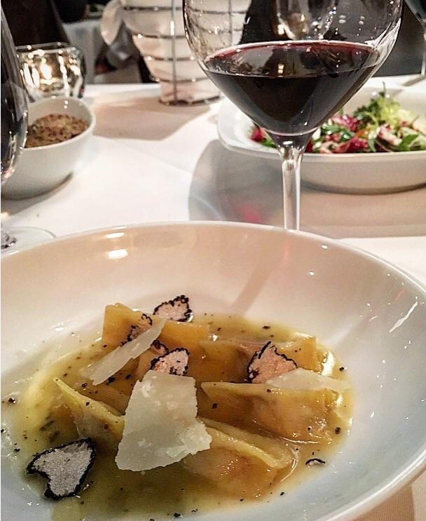 Veal agnolotti with Australian black truffles, delicious with the Guado al Tasso Il Bruciato wine.