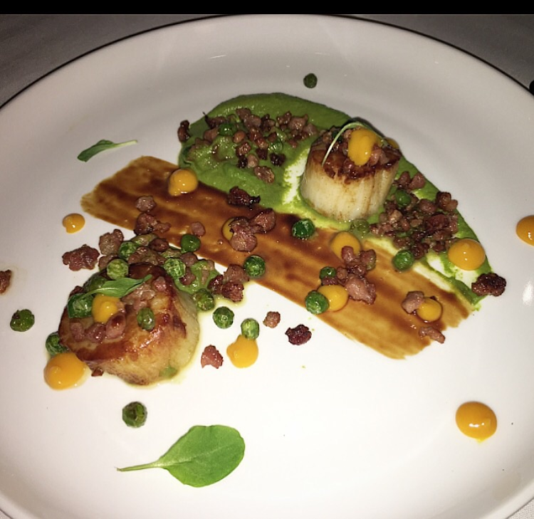 Sea scallops with pancetta, spicy mango, pea puree and a scallop glaze were a fantastic option for the non-meat eaters.