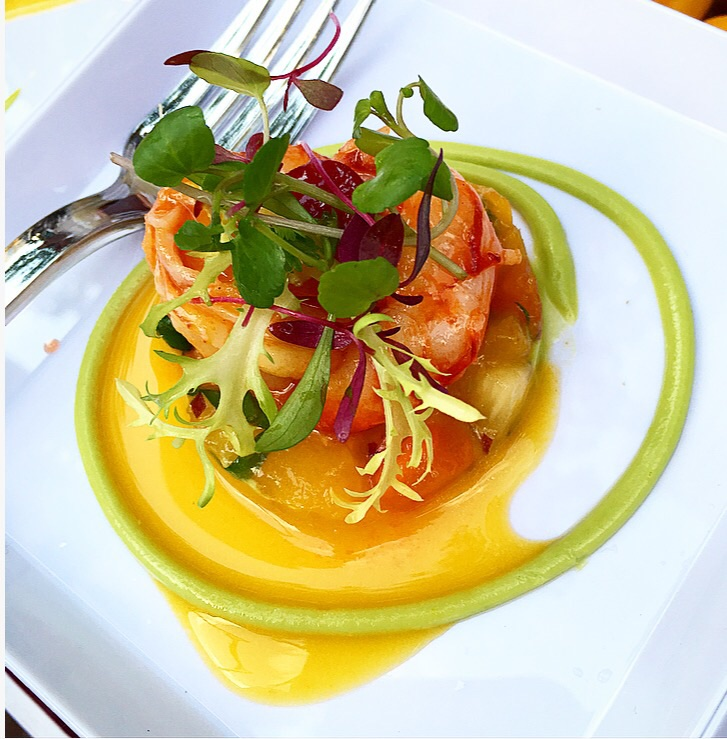 Gotham Bar & Grill 's Argentinan red prawn ceviche with mango, avocado, papaya, chili and citrus emulsion